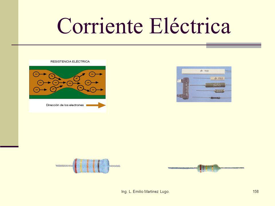 Ing. L. Emilio Martinez Lugo.158 Corriente Eléctrica