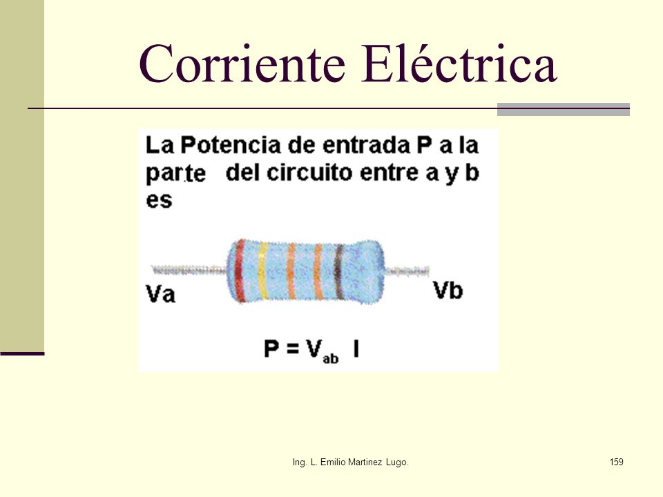 Ing. L. Emilio Martinez Lugo.159 Corriente Eléctrica