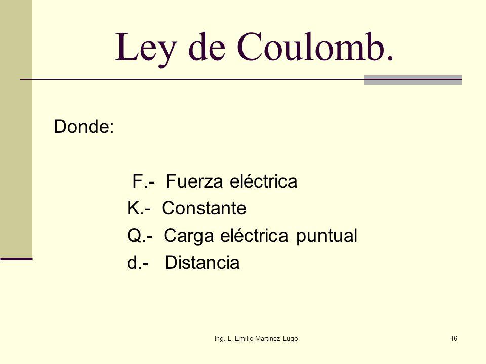Ing. L. Emilio Martinez Lugo.16 Ley de Coulomb. Donde: F.- Fuerza eléctrica K.- Constante Q.- Carga eléctrica puntual d.- Distancia