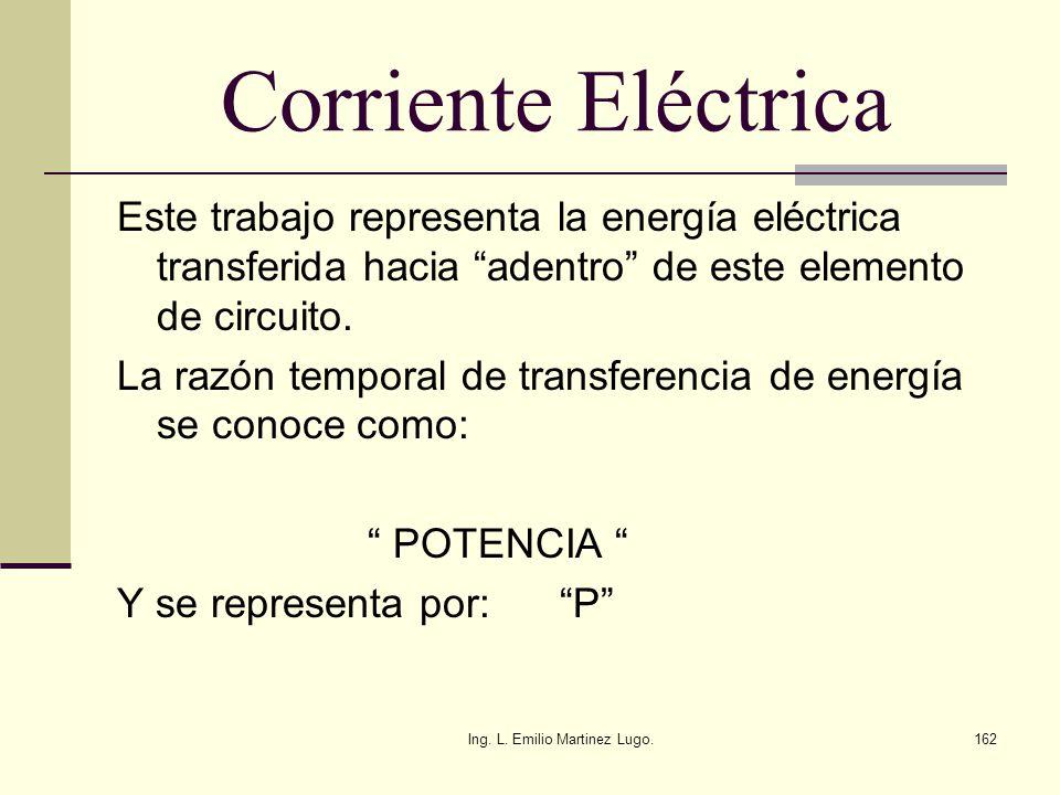 Ing. L. Emilio Martinez Lugo.162 Corriente Eléctrica Este trabajo representa la energía eléctrica transferida hacia adentro de este elemento de circui