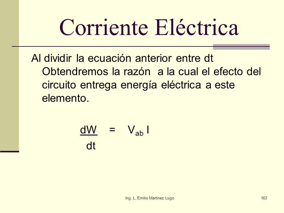 Ing. L. Emilio Martinez Lugo.163 Corriente Eléctrica Al dividir la ecuación anterior entre dt Obtendremos la razón a la cual el efecto del circuito en