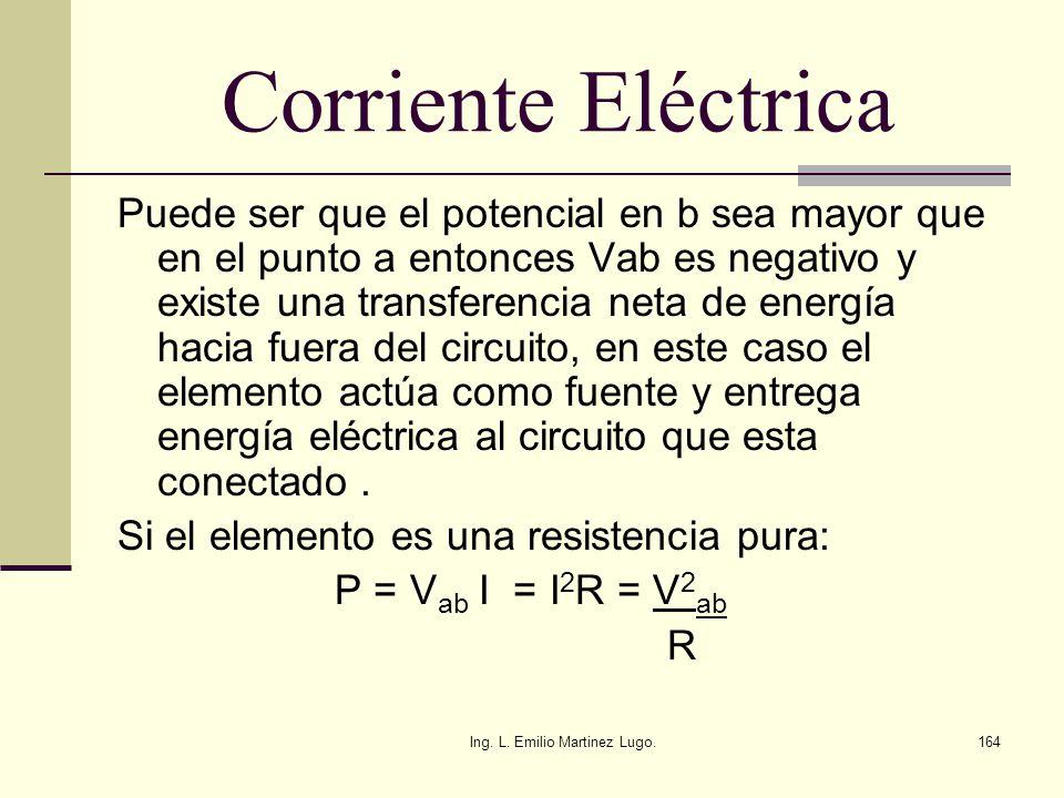 Ing. L. Emilio Martinez Lugo.164 Corriente Eléctrica Puede ser que el potencial en b sea mayor que en el punto a entonces Vab es negativo y existe una