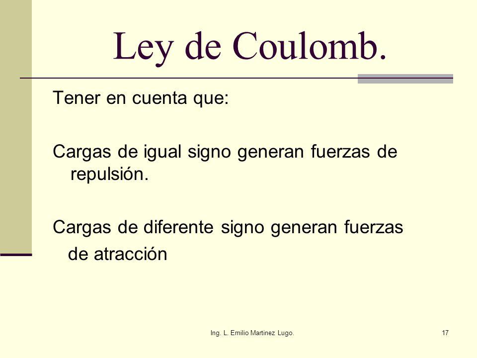 Ing. L. Emilio Martinez Lugo.17 Ley de Coulomb. Tener en cuenta que: Cargas de igual signo generan fuerzas de repulsión. Cargas de diferente signo gen