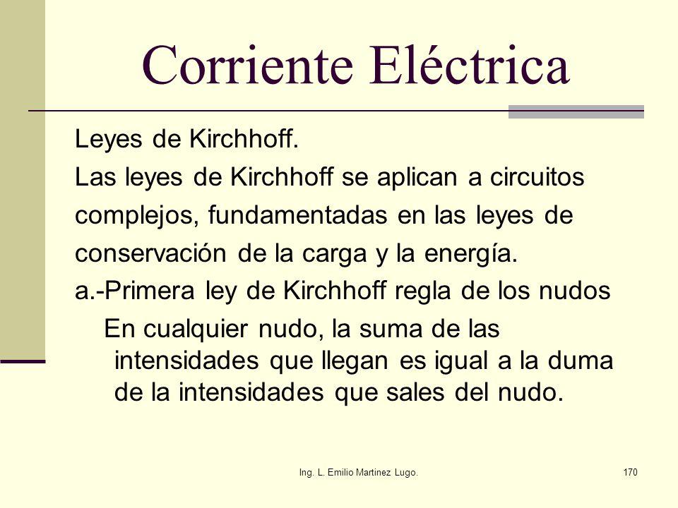 Ing. L. Emilio Martinez Lugo.170 Corriente Eléctrica Leyes de Kirchhoff. Las leyes de Kirchhoff se aplican a circuitos complejos, fundamentadas en las