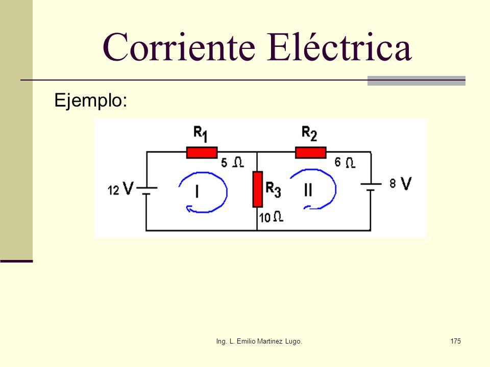 Ing. L. Emilio Martinez Lugo.175 Corriente Eléctrica Ejemplo: