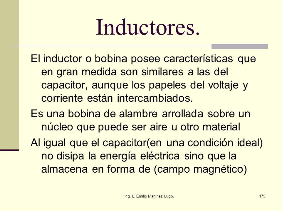 Ing. L. Emilio Martinez Lugo.179 Inductores. El inductor o bobina posee características que en gran medida son similares a las del capacitor, aunque l