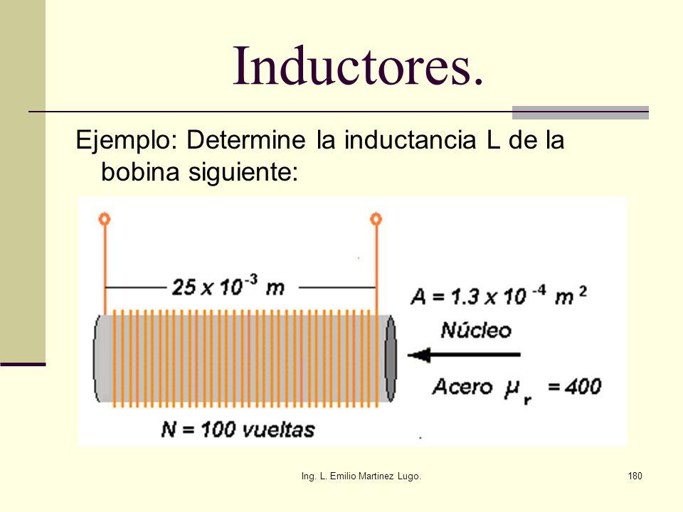 Ing. L. Emilio Martinez Lugo.180 Inductores. Ejemplo: Determine la inductancia L de la bobina siguiente:
