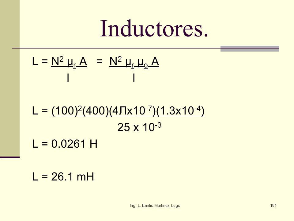 Ing. L. Emilio Martinez Lugo.181 Inductores. N 2 µ r µ o A L = N 2 µ r A = N 2 µ r µ o A l l L = (100) 2 (400)(4 Лx10 -7 )(1.3x10 -4 ) 25 x 10 -3 L =