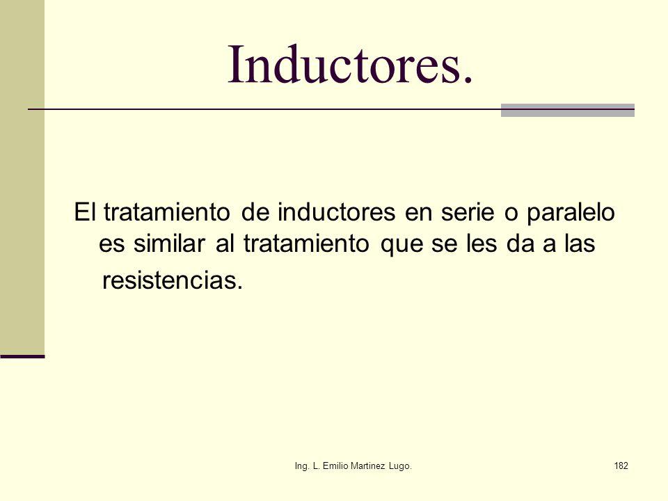 Ing. L. Emilio Martinez Lugo.182 Inductores. El tratamiento de inductores en serie o paralelo es similar al tratamiento que se les da a las resistenci