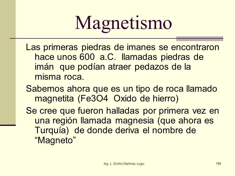 Ing. L. Emilio Martinez Lugo.188 Magnetismo Las primeras piedras de imanes se encontraron hace unos 600 a.C. llamadas piedras de imán que podían atrae
