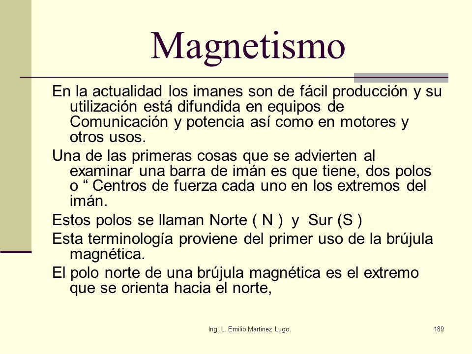 Ing. L. Emilio Martinez Lugo.189 Magnetismo En la actualidad los imanes son de fácil producción y su utilización está difundida en equipos de Comunica