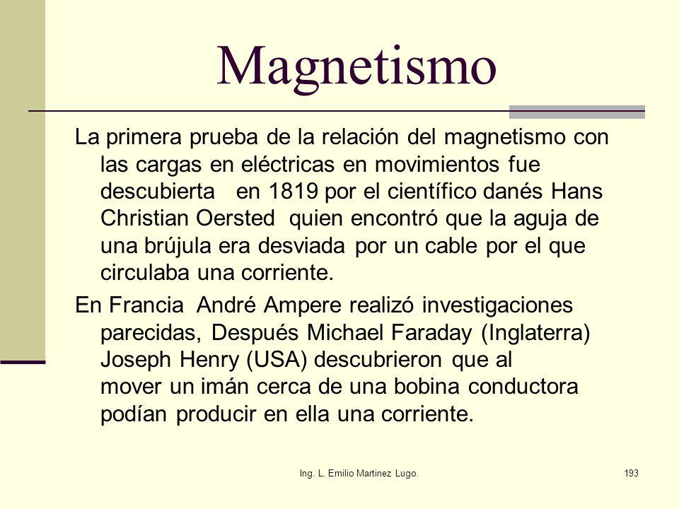Ing. L. Emilio Martinez Lugo.193 Magnetismo La primera prueba de la relación del magnetismo con las cargas en eléctricas en movimientos fue descubiert