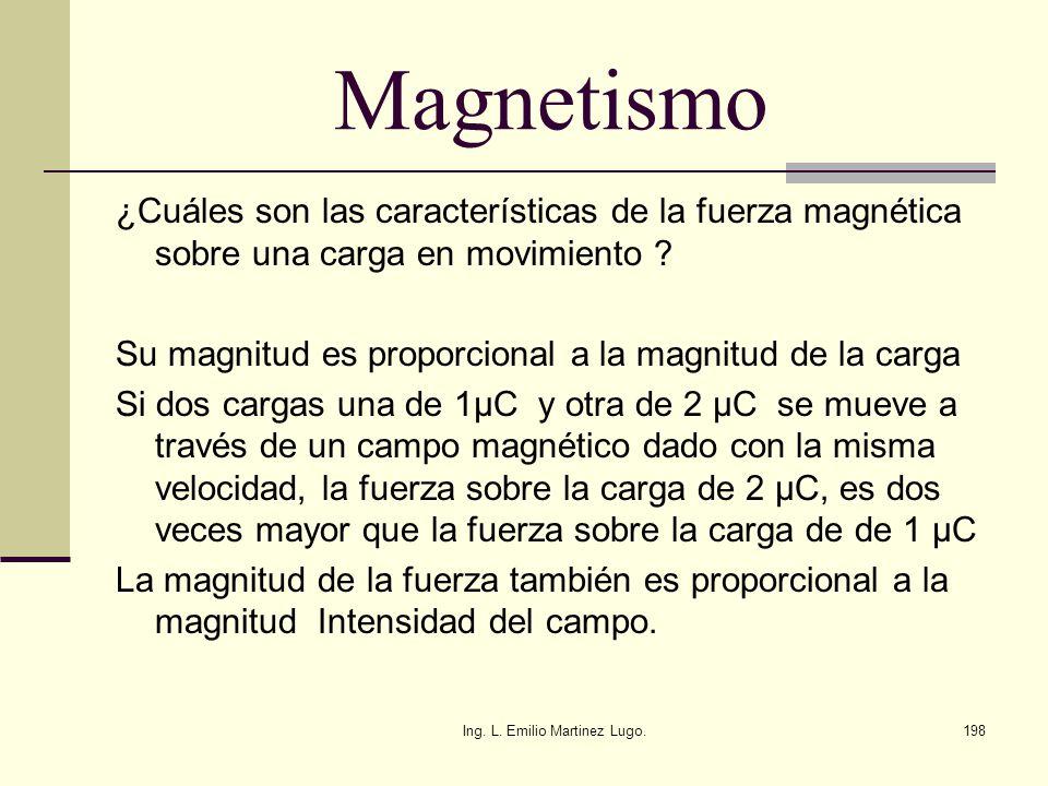 Ing. L. Emilio Martinez Lugo.198 Magnetismo ¿Cuáles son las características de la fuerza magnética sobre una carga en movimiento ? Su magnitud es prop