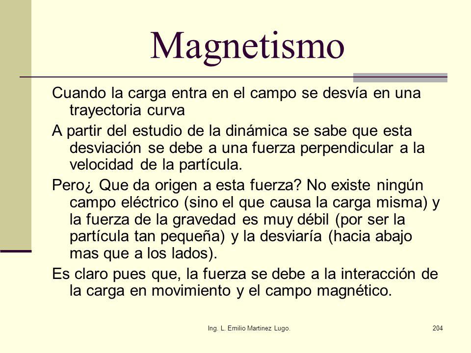 Ing. L. Emilio Martinez Lugo.204 Magnetismo Cuando la carga entra en el campo se desvía en una trayectoria curva A partir del estudio de la dinámica s