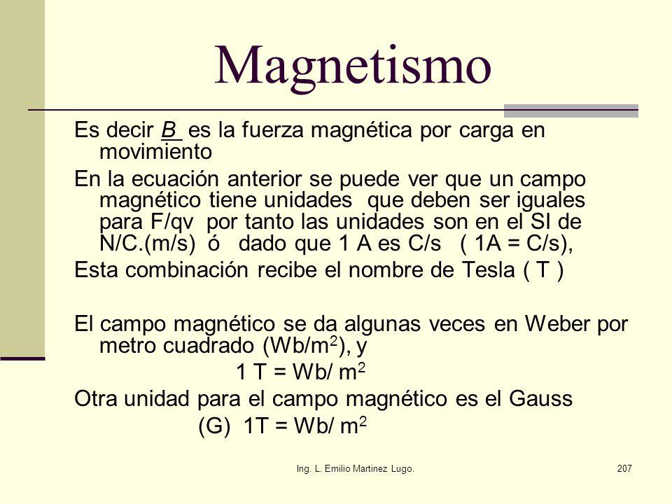 Ing. L. Emilio Martinez Lugo.207 Magnetismo Es decir B es la fuerza magnética por carga en movimiento En la ecuación anterior se puede ver que un camp