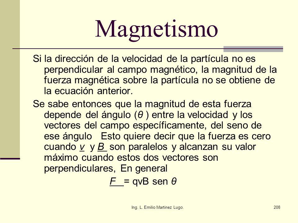Ing. L. Emilio Martinez Lugo.208 Magnetismo Si la dirección de la velocidad de la partícula no es perpendicular al campo magnético, la magnitud de la