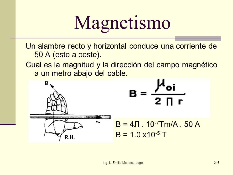 Ing. L. Emilio Martinez Lugo.216 Magnetismo Un alambre recto y horizontal conduce una corriente de 50 A (este a oeste). Cual es la magnitud y la direc
