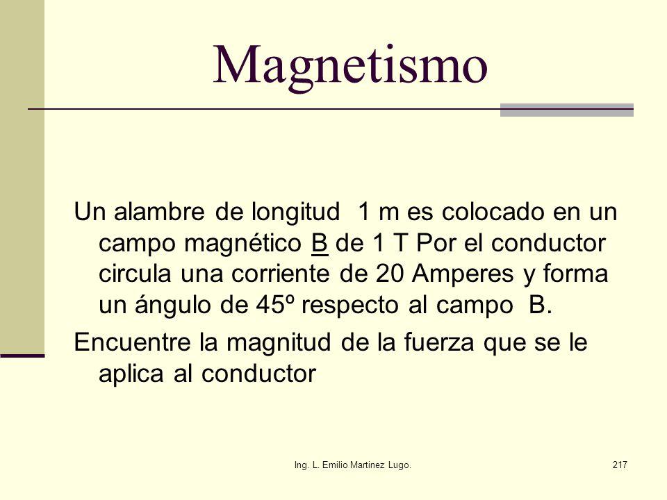 Ing. L. Emilio Martinez Lugo.217 Magnetismo Un alambre de longitud 1 m es colocado en un campo magnético B de 1 T Por el conductor circula una corrien