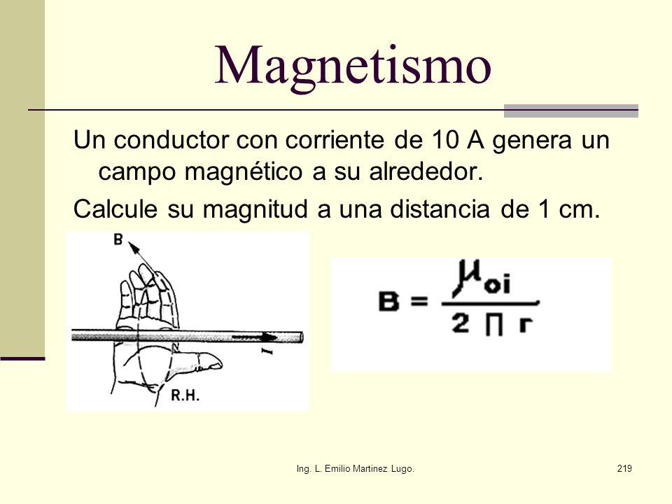 Ing. L. Emilio Martinez Lugo.219 Magnetismo Un conductor con corriente de 10 A genera un campo magnético a su alrededor. Calcule su magnitud a una dis