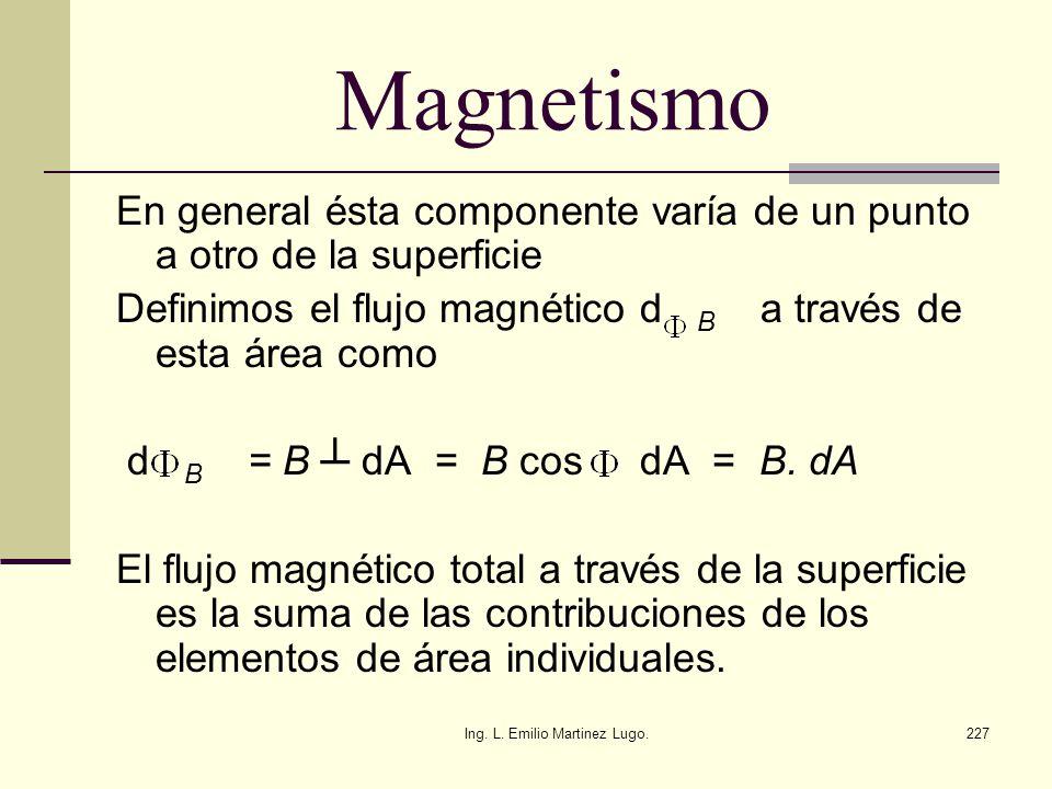 Ing. L. Emilio Martinez Lugo.227 Magnetismo En general ésta componente varía de un punto a otro de la superficie Definimos el flujo magnético d B a tr