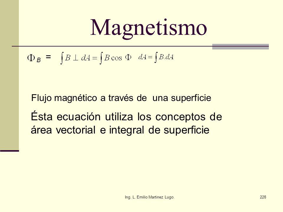 Ing. L. Emilio Martinez Lugo.228 Magnetismo B = Flujo magnético a través de una superficie Ésta ecuación utiliza los conceptos de área vectorial e int