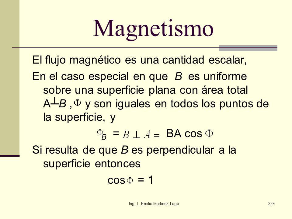 Ing. L. Emilio Martinez Lugo.229 Magnetismo El flujo magnético es una cantidad escalar, En el caso especial en que B es uniforme sobre una superficie