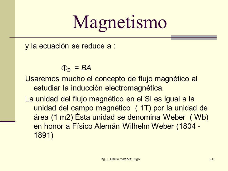 Ing. L. Emilio Martinez Lugo.230 Magnetismo y la ecuación se reduce a : B = BA Usaremos mucho el concepto de flujo magnético al estudiar la inducción