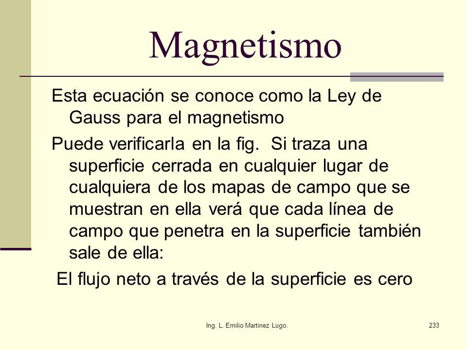 Ing. L. Emilio Martinez Lugo.233 Magnetismo Esta ecuación se conoce como la Ley de Gauss para el magnetismo Puede verificarla en la fig. Si traza una