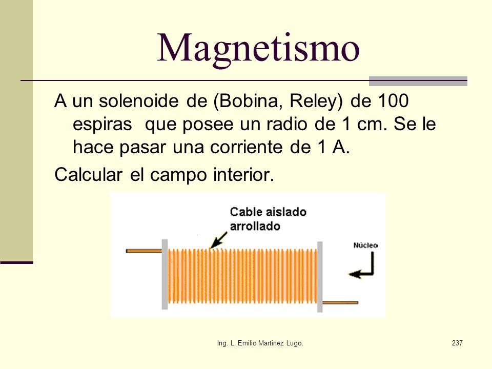 Ing. L. Emilio Martinez Lugo.237 Magnetismo A un solenoide de (Bobina, Reley) de 100 espiras que posee un radio de 1 cm. Se le hace pasar una corrient