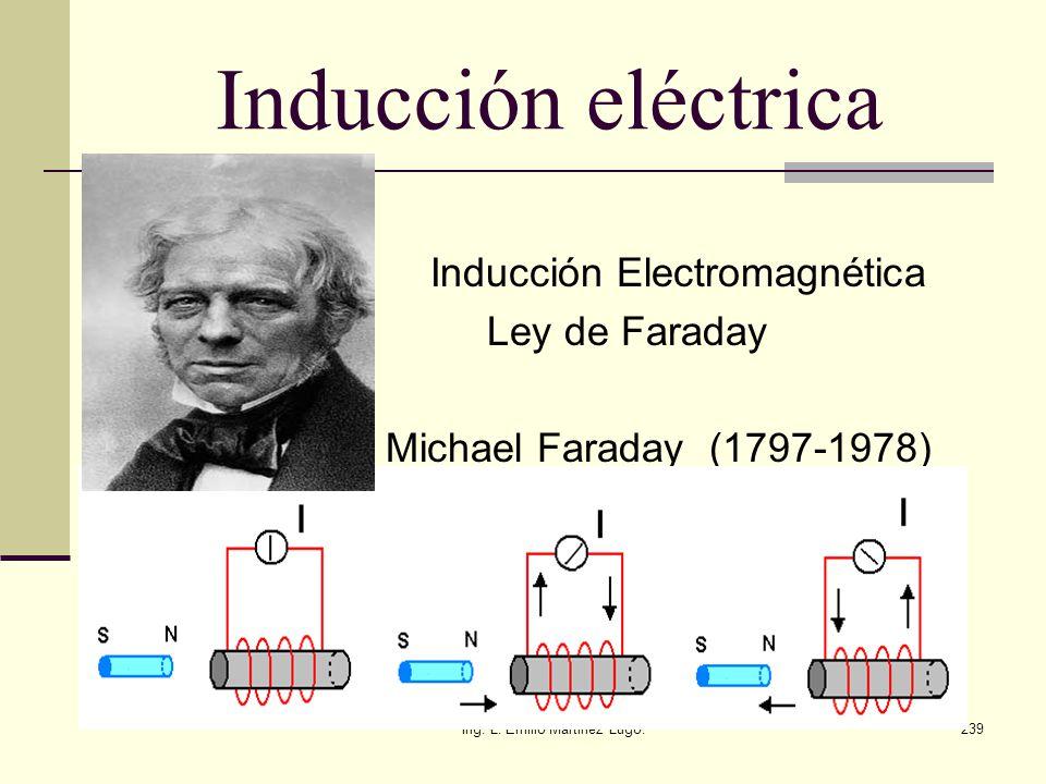 Ing. L. Emilio Martinez Lugo.239 Inducción eléctrica Inducción Electromagnética Ley de Faraday Michael Faraday (1797-1978)
