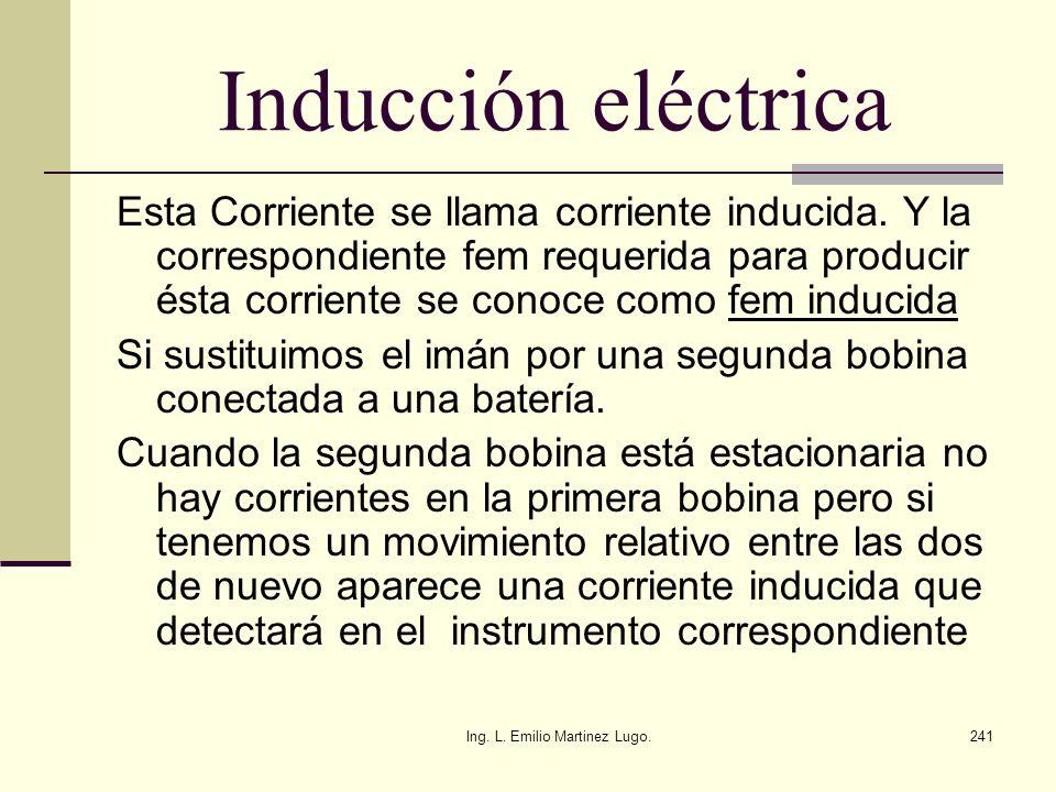 Ing. L. Emilio Martinez Lugo.241 Inducción eléctrica Esta Corriente se llama corriente inducida. Y la correspondiente fem requerida para producir ésta