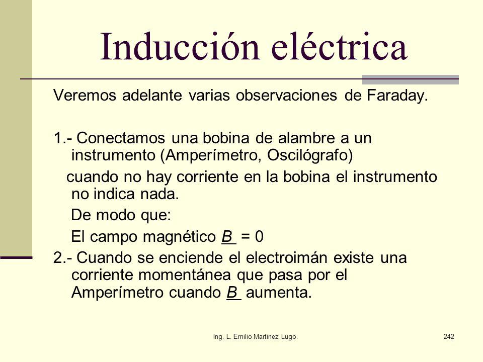 Ing. L. Emilio Martinez Lugo.242 Inducción eléctrica Veremos adelante varias observaciones de Faraday. 1.- Conectamos una bobina de alambre a un instr