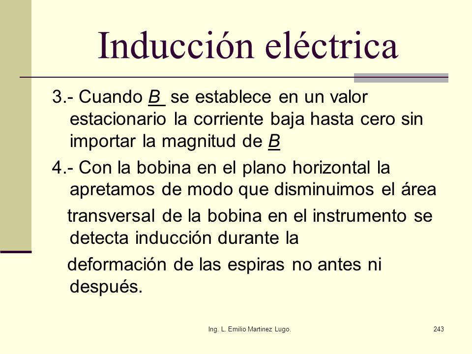 Ing. L. Emilio Martinez Lugo.243 Inducción eléctrica 3.- Cuando B se establece en un valor estacionario la corriente baja hasta cero sin importar la m