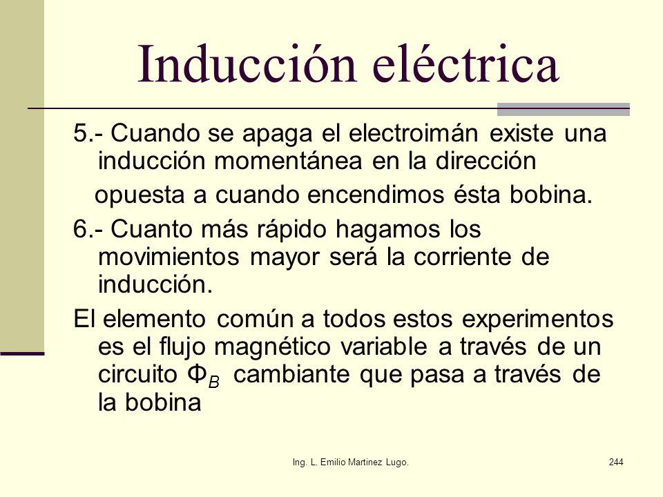 Ing. L. Emilio Martinez Lugo.244 Inducción eléctrica 5.- Cuando se apaga el electroimán existe una inducción momentánea en la dirección opuesta a cuan