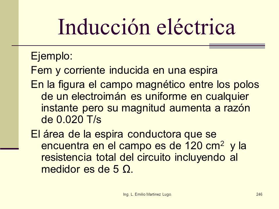 Ing. L. Emilio Martinez Lugo.246 Inducción eléctrica Ejemplo: Fem y corriente inducida en una espira En la figura el campo magnético entre los polos d