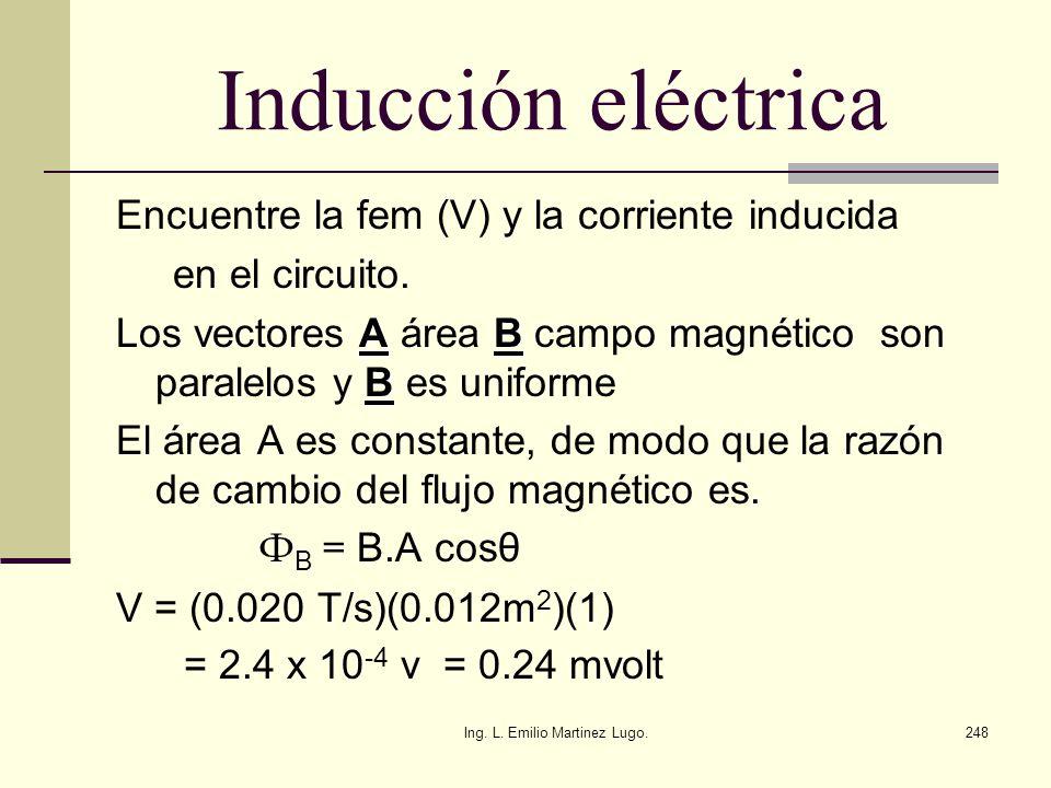 Ing. L. Emilio Martinez Lugo.248 Inducción eléctrica Encuentre la fem (V) y la corriente inducida en el circuito. AB B Los vectores A área B campo mag