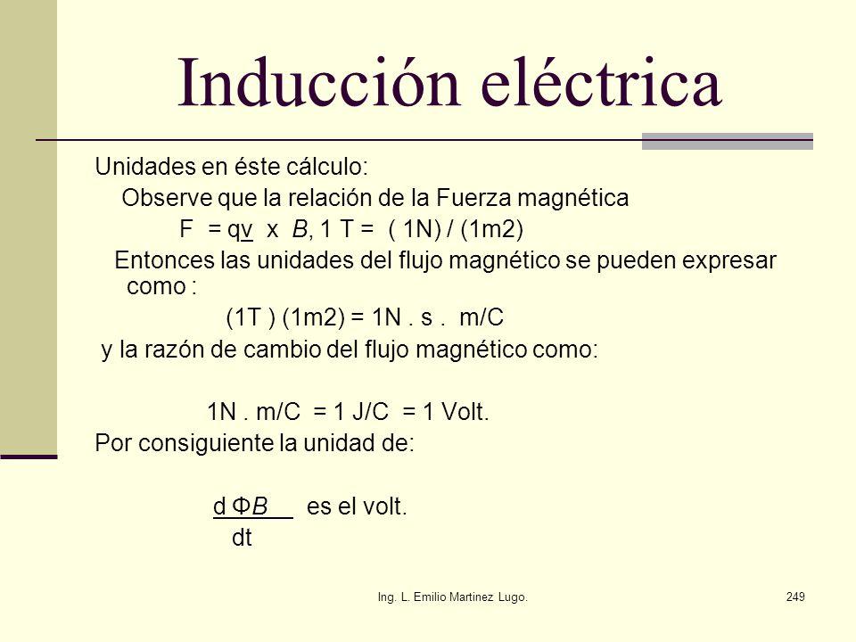 Ing. L. Emilio Martinez Lugo.249 Inducción eléctrica Unidades en éste cálculo: Observe que la relación de la Fuerza magnética F = qv x B, 1 T = ( 1N)
