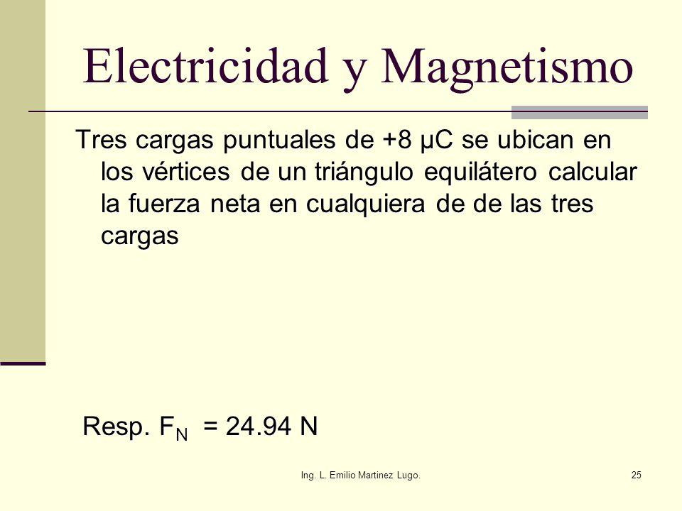 Ing. L. Emilio Martinez Lugo.25 Electricidad y Magnetismo Tres cargas puntuales de +8 µC se ubican en los vértices de un triángulo equilátero calcular