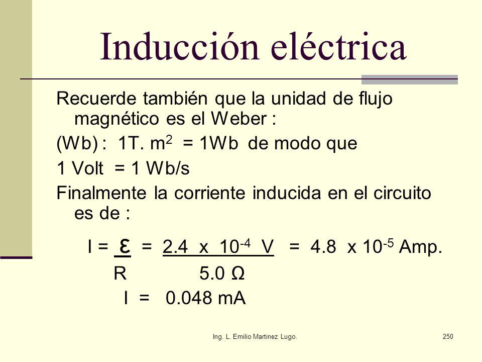 Ing. L. Emilio Martinez Lugo.250 Inducción eléctrica Recuerde también que la unidad de flujo magnético es el Weber : (Wb) : 1T. m 2 = 1Wb de modo que