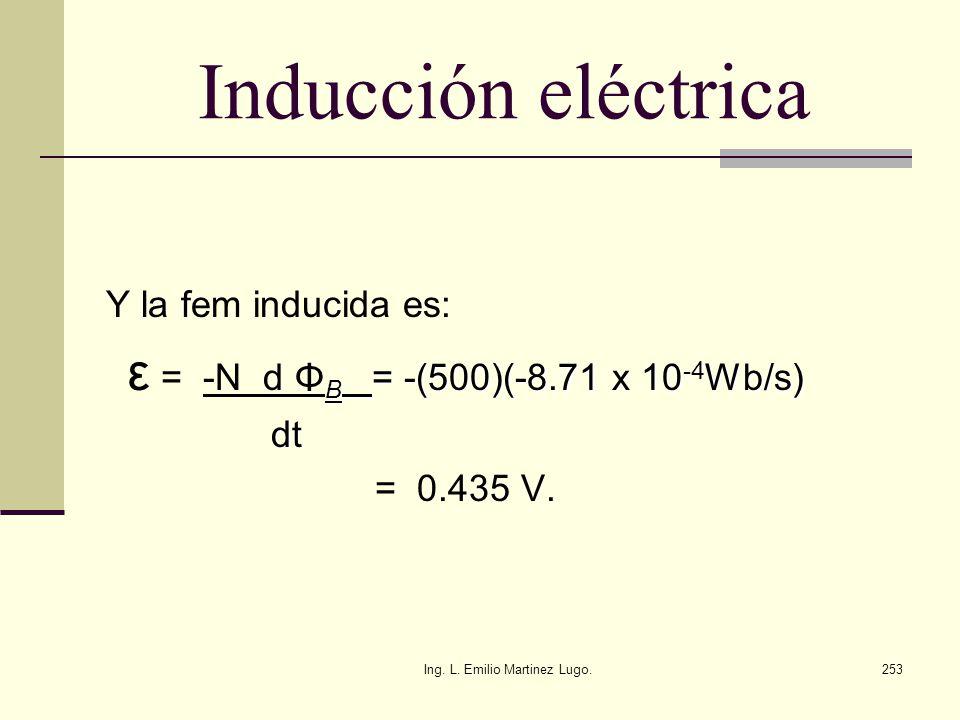 Ing. L. Emilio Martinez Lugo.253 Inducción eléctrica Y la fem inducida es: B = -(500)(-8.71 x 10 -4 Wb/s) ε = -N d Φ B = -(500)(-8.71 x 10 -4 Wb/s) dt