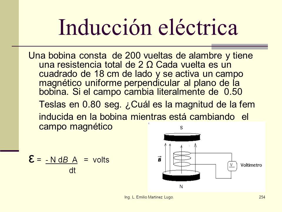 Ing. L. Emilio Martinez Lugo.254 Inducción eléctrica Una bobina consta de 200 vueltas de alambre y tiene una resistencia total de 2 Ω Cada vuelta es u
