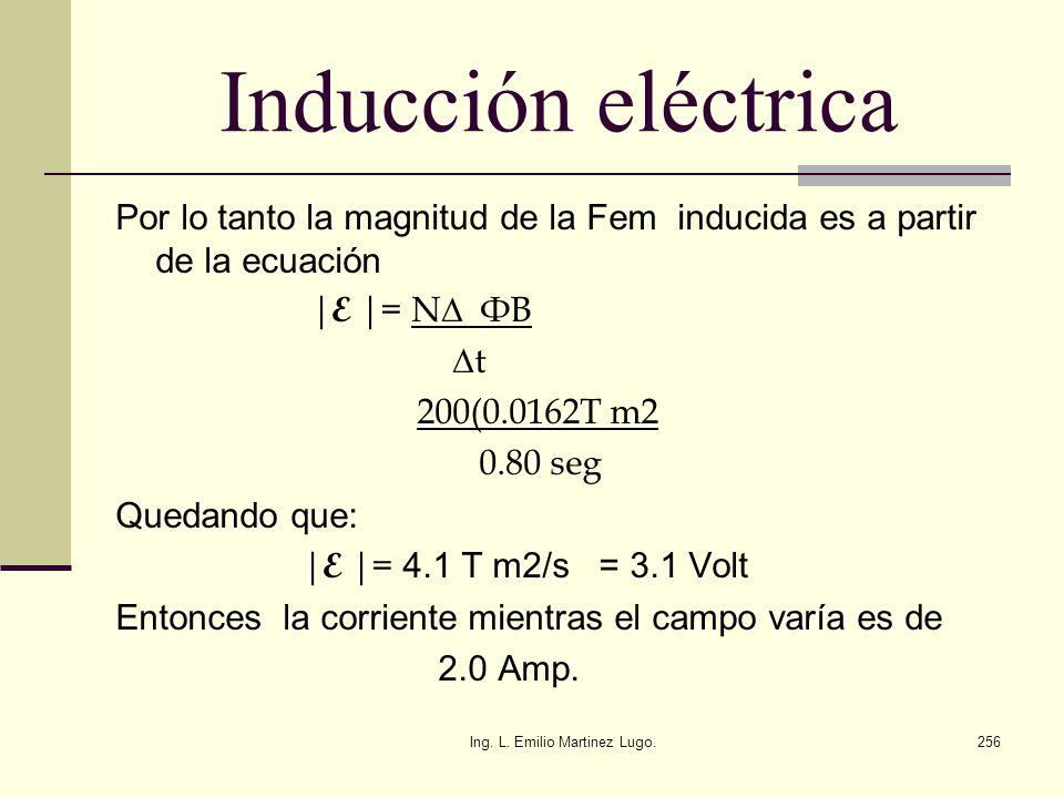 Ing. L. Emilio Martinez Lugo.256 Inducción eléctrica Por lo tanto la magnitud de la Fem inducida es a partir de la ecuación | E |= N ФB t 200(0.0162T