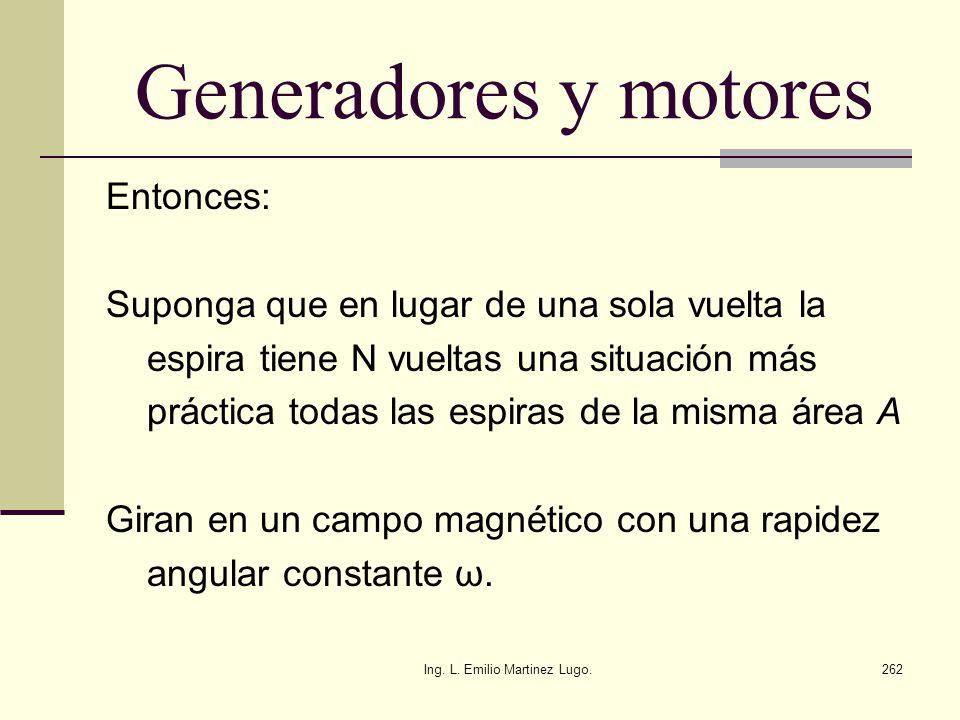 Ing. L. Emilio Martinez Lugo.262 Generadores y motores Entonces: Suponga que en lugar de una sola vuelta la espira tiene N vueltas una situación más p