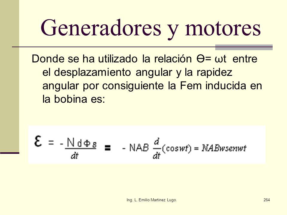 Ing. L. Emilio Martinez Lugo.264 Generadores y motores Donde se ha utilizado la relación Ө= ωt entre el desplazamiento angular y la rapidez angular po