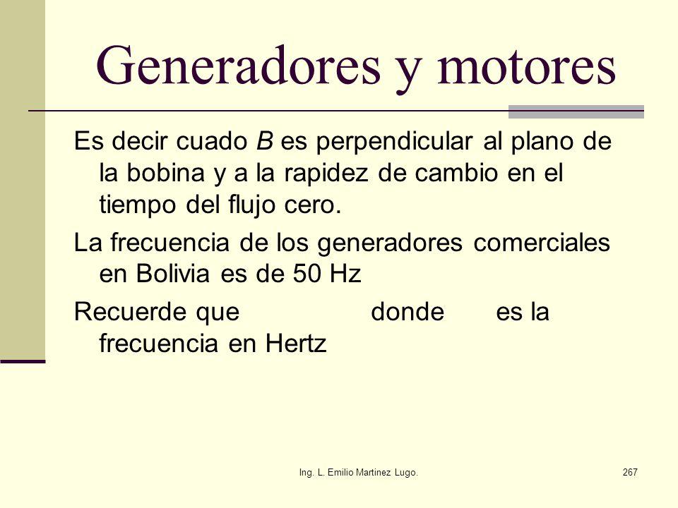 Ing. L. Emilio Martinez Lugo.267 Generadores y motores Es decir cuado В es perpendicular al plano de la bobina y a la rapidez de cambio en el tiempo d