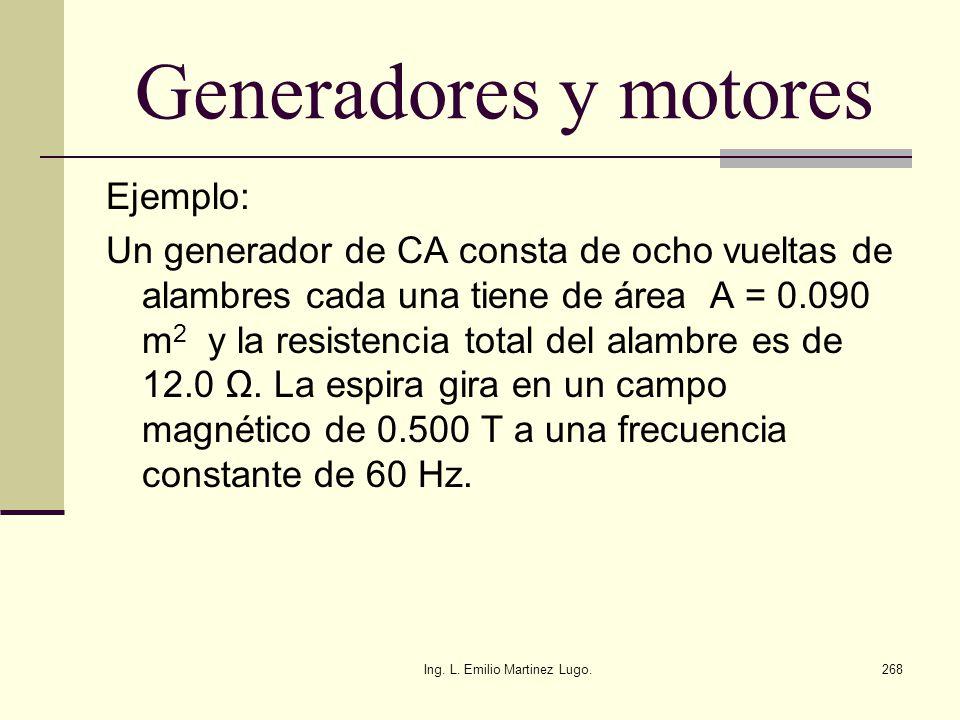 Ing. L. Emilio Martinez Lugo.268 Generadores y motores Ejemplo: Un generador de CA consta de ocho vueltas de alambres cada una tiene de área A = 0.090