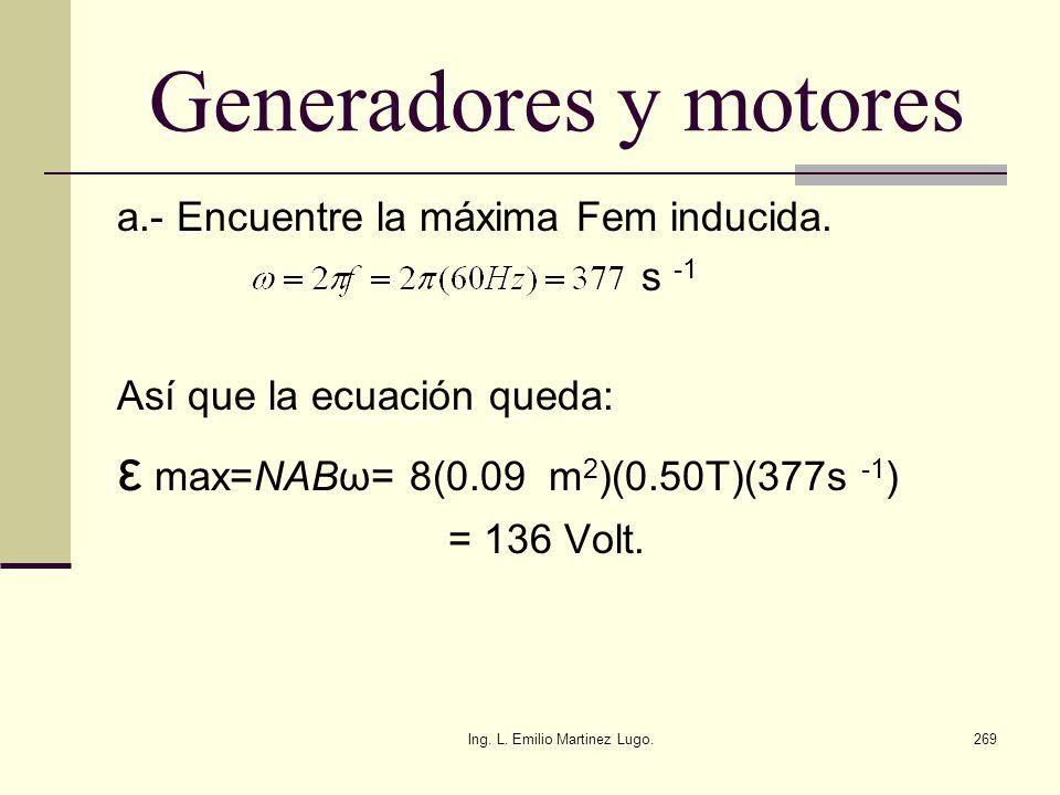 Ing. L. Emilio Martinez Lugo.269 Generadores y motores a.- Encuentre la máxima Fem inducida. s -1 Así que la ecuación queda: ε max=NABω= 8(0.09 m 2 )(