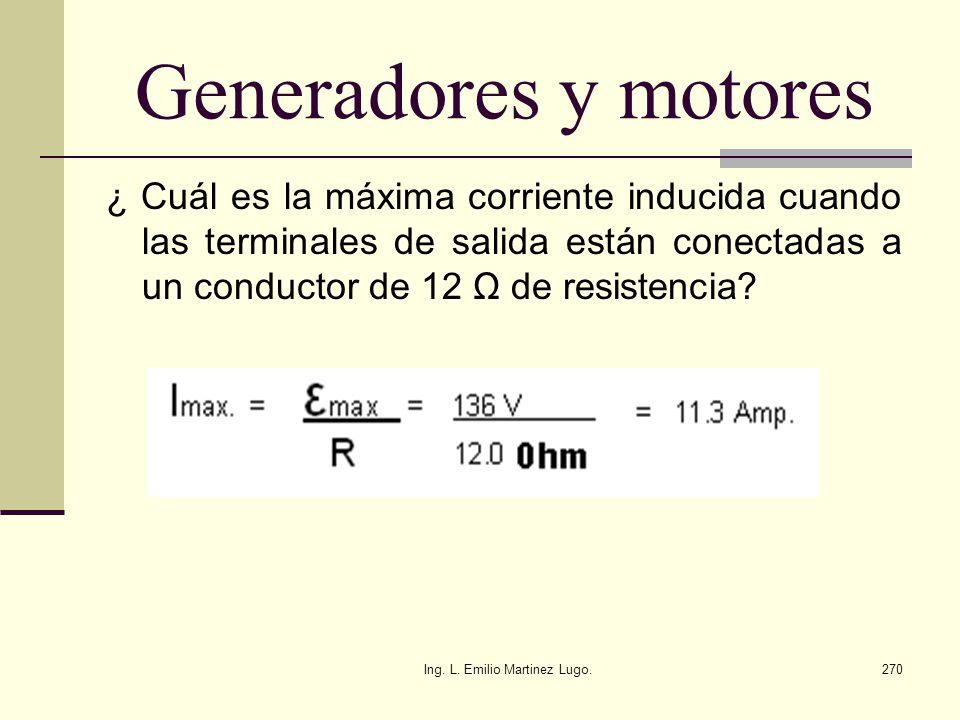 Ing. L. Emilio Martinez Lugo.270 Generadores y motores ¿ Cuál es la máxima corriente inducida cuando las terminales de salida están conectadas a un co
