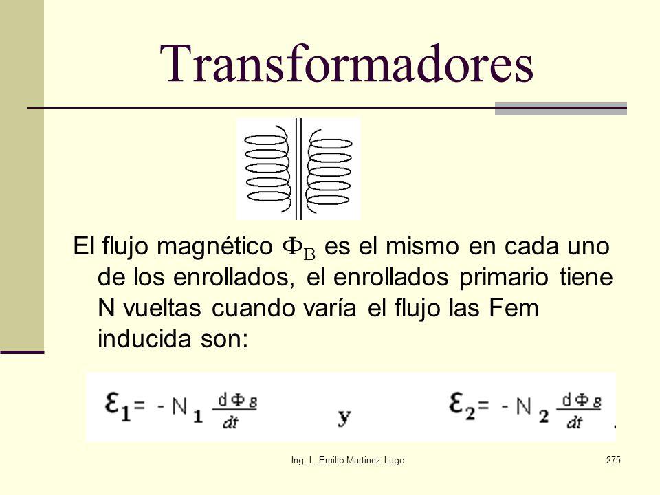 Ing. L. Emilio Martinez Lugo.275 Transformadores El flujo magnético Ф B es el mismo en cada uno de los enrollados, el enrollados primario tiene N vuel