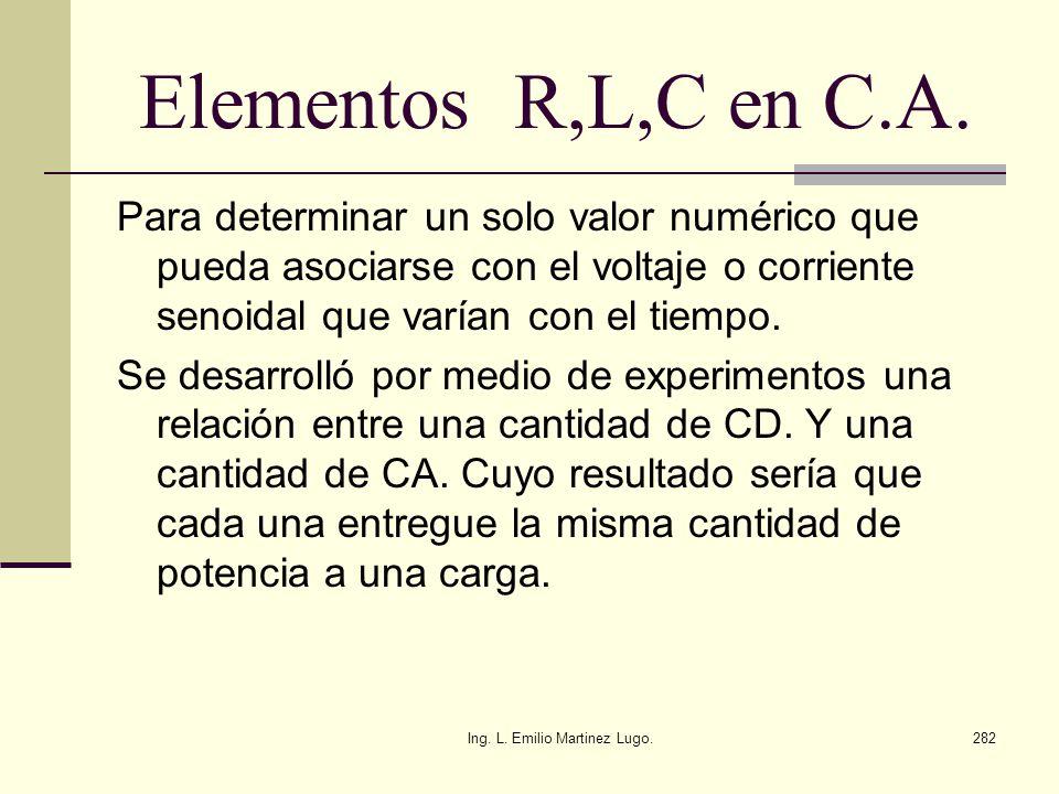 Ing. L. Emilio Martinez Lugo.282 Elementos R,L,C en C.A. Para determinar un solo valor numérico que pueda asociarse con el voltaje o corriente senoida